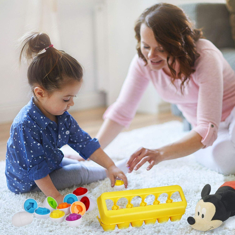 Anleolife Color Shape Matching Egg Set, Preschool Montessori Toys for Toddler Games, Educational Color Recognition Skills Learning by Anleolife (Image #4)