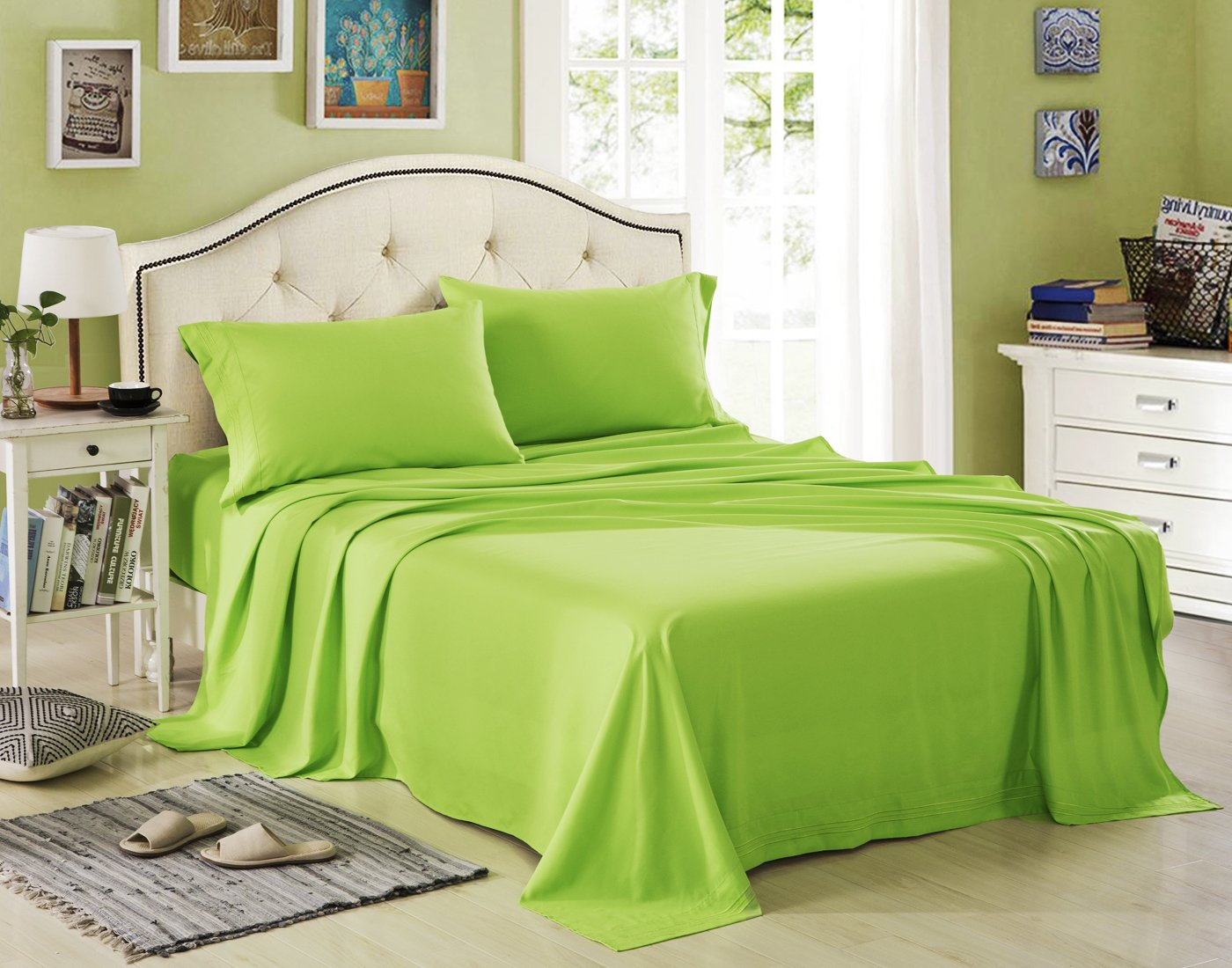 Honeymoon 1800 Brushed Microfiber Embroidered Bed Sheet Set, Ultra Soft,  Twin   Lime Green