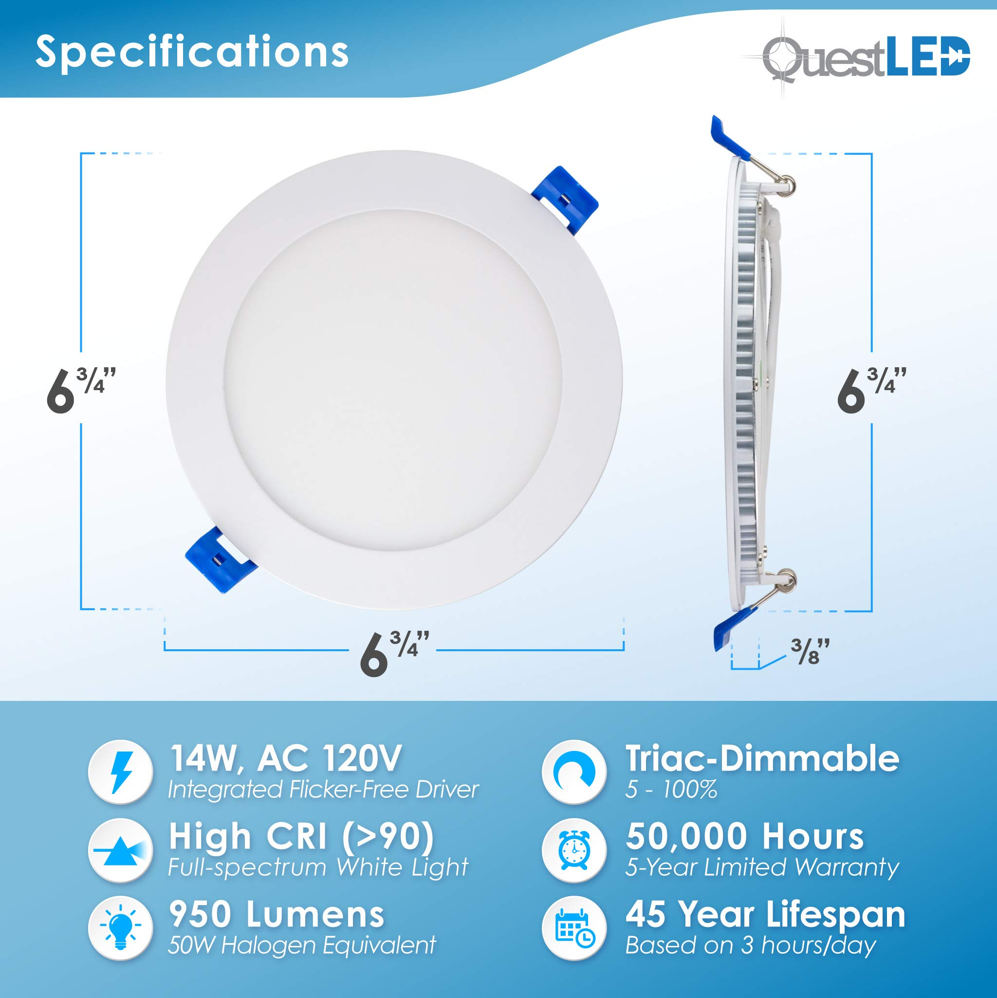 6'' Slim Recessed Panel Ceiling Downlight Ultra Thin Wafer with Junction Box; 14W=50W Equivalent; 3-in-1 CCT: 3000k/4000k/5000k, 950 lumens, 120V, Dimmable, IC Rated, ETL/ES/JA8 (18 Pack) by Quest LED (Image #3)