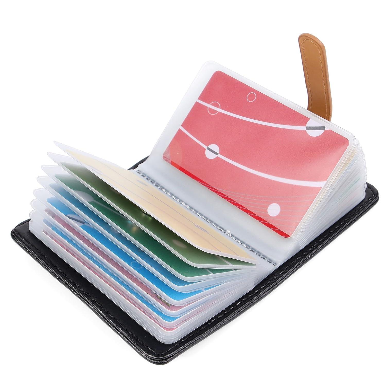 10 Farben Kreditkartenetui Damen Herren Kartenetui Leder - 26 Karten (Pink) AS-1026