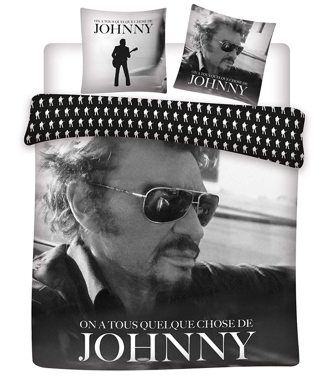 Johnny Hallyday Parure de lit 100% Coton 2 Personnes 240x220 cm + 2 Taies