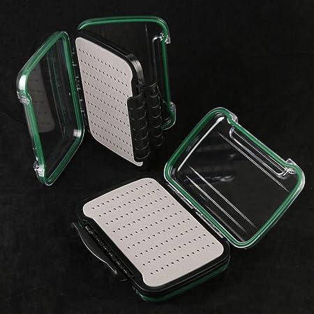 Marca nueva para pesca con mosca caja grande capacidad de doble cara diseño abierto plástico mosca caja impermeable caja para moscas de pesca: Amazon.es: Hogar