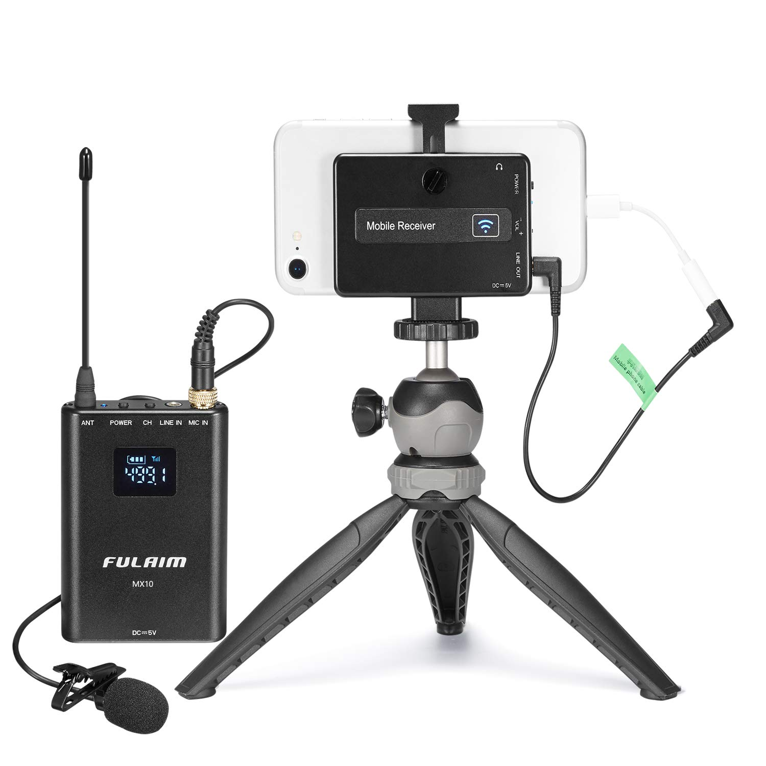 FULAIM 4-CHAN UHF Wireless Lavalier Microphone System w/Real-time Audio Monitor for iPhone Android Smartphones DSLR Camera, Professional Video Recording Mic System for Interview Youtube Vlog (MX10) by FULAIM