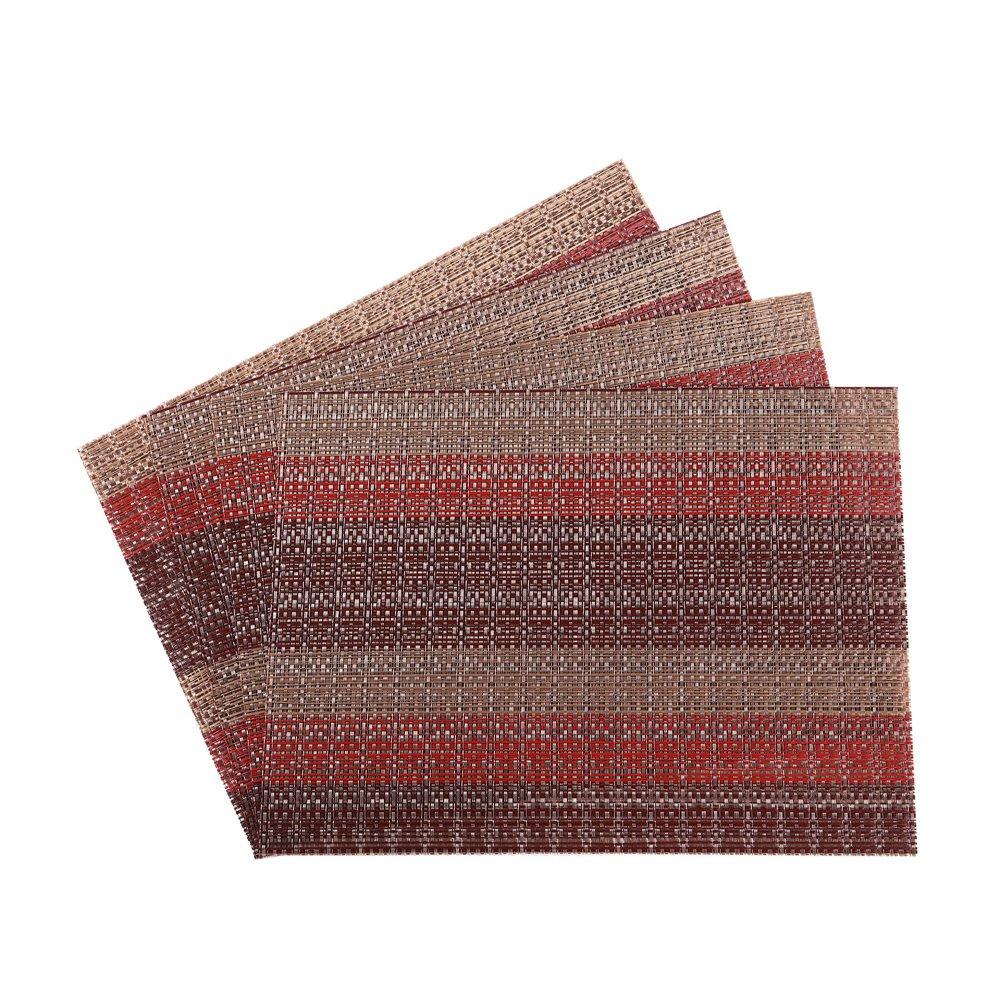 missowl熱断熱材キッチンレストランテーブルマット洗濯可能織ビニールプレースマットのセット4 レッド  1 Red Gold B0796D3X4G