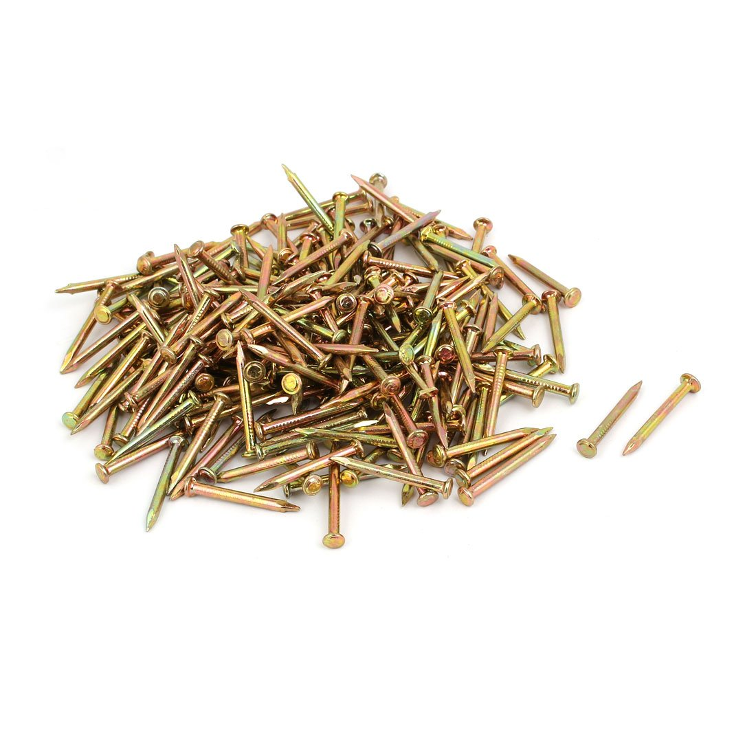 uxcell 300pcs 30mm Length Steel Point Tip Cement Nail Bronze Tone