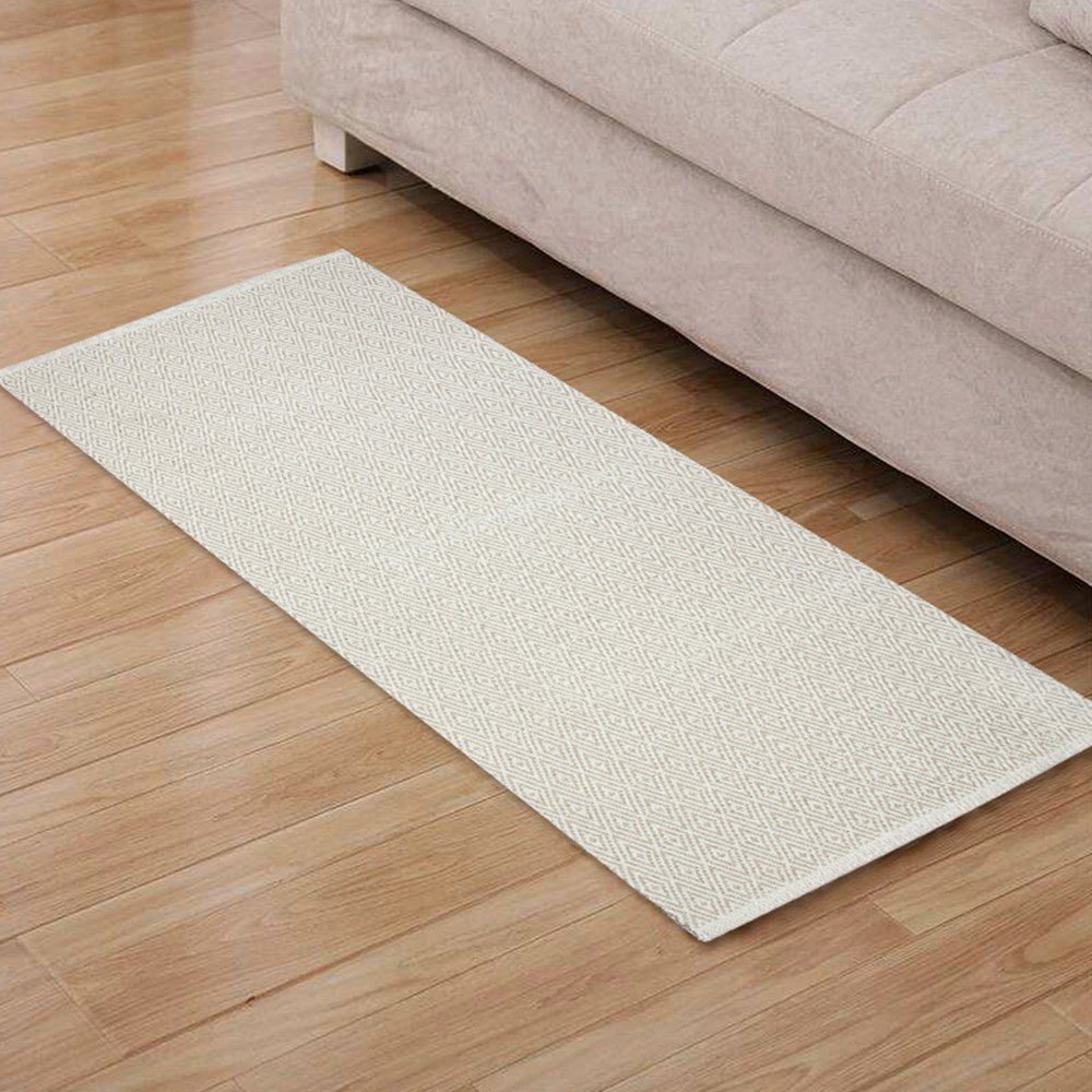 Furnily Cotton Diamond Rugs Non Slip Hand Made Kitchen Rug Runner Machine Washable Mat Floor Carpet Door Mat Rug 60 x 130cm (Beige and White)