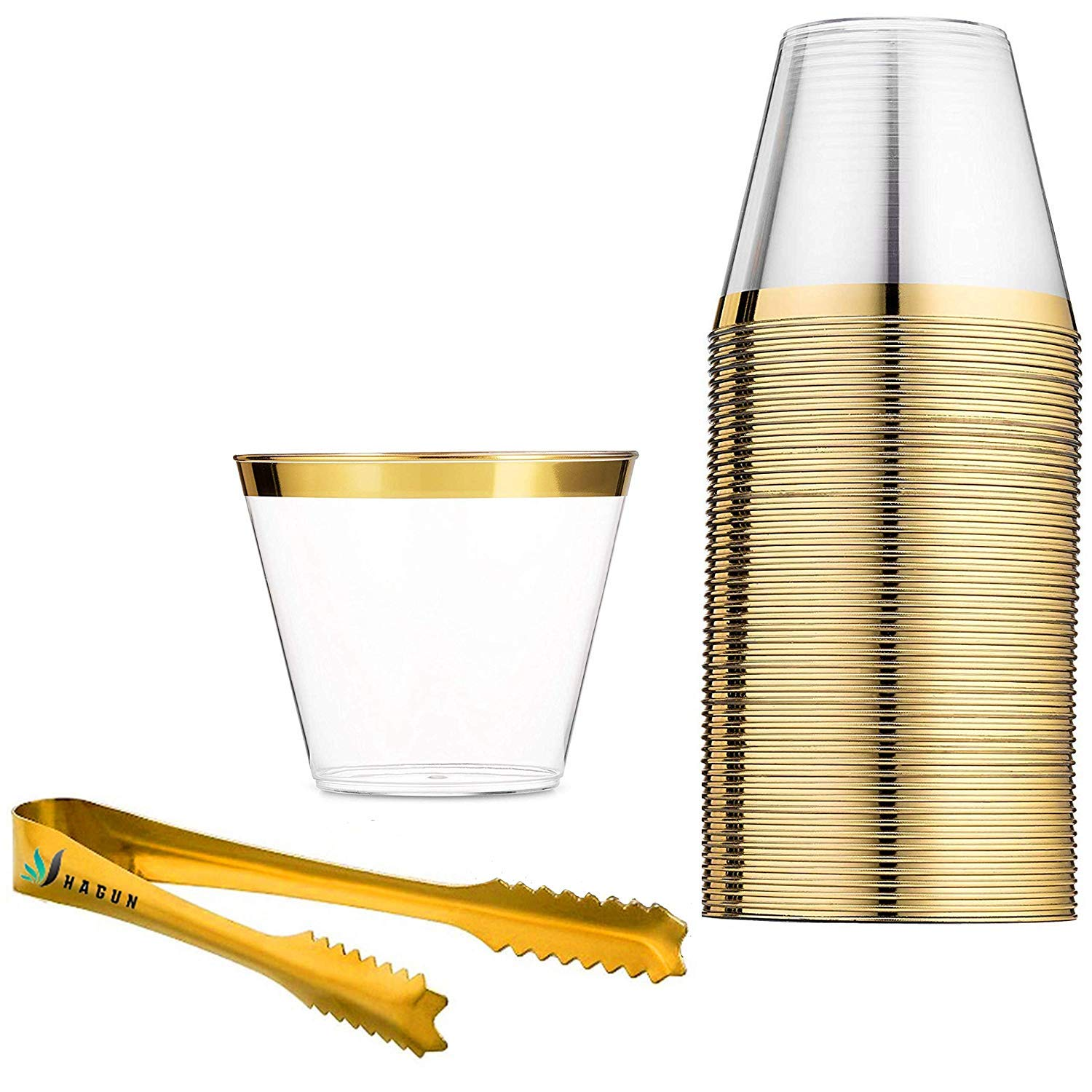 9 oz Gold Rimmed Plastic Cups Clear Plastic Tumblers Gold Cups Disposable Hard Party Wedding Plastic Cups 60 Pack