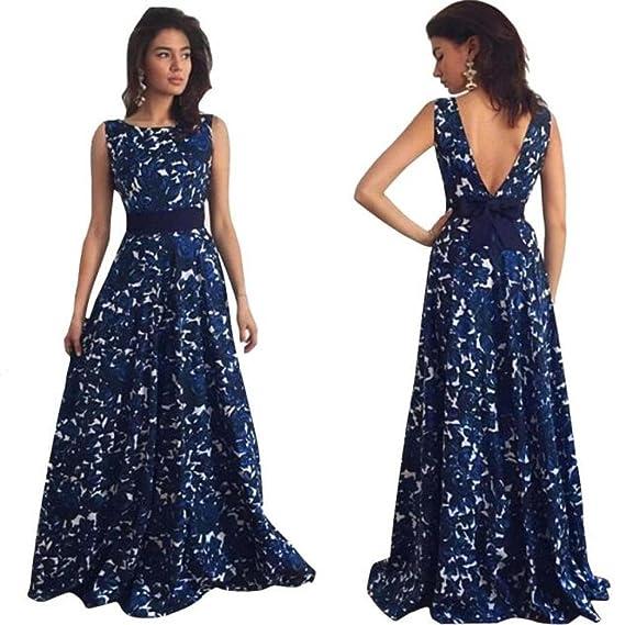 Morwind Donna Floreale Lungo Formale Prom Elegante Abiti Partito Ballo Sexy  Abito Da Sposa Da Sera 33d8fb45114
