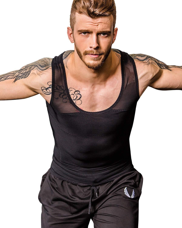 NOVECASA Chaleco Camiseta de Compresi/ón sin Mangas para Esconder Gynecomastia Moobs Pecho Deportes de Secado R/ápido para Gimnasio Fitness Yoga