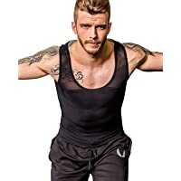 Shaxea Men's Extreme Compression Shirt to Hide Gynecomastia Moobs Chest Body Slimming Undershirt Shapewear