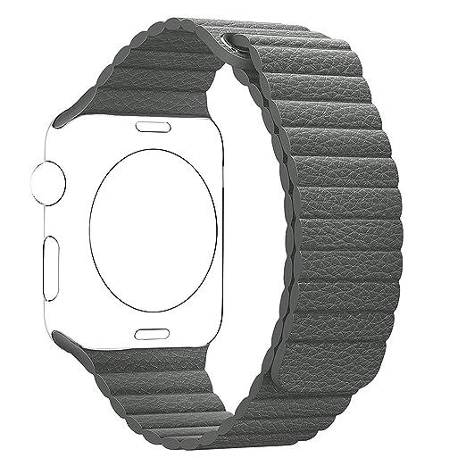 24 opinioni per Cinturino Apple Watch,SUNDAREE 38mm Qualità Superiore Pelle Magnetico Loop Strap