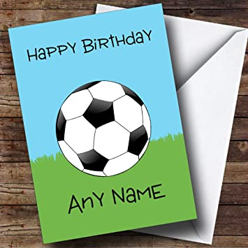 57245a3f8 Football Fan Ball On Grass Personalised Birthday Card  Amazon.co.uk  Office  Products