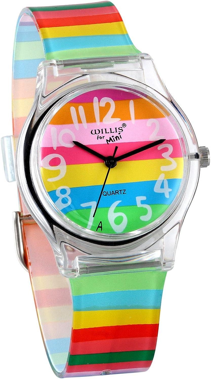 JewelryWe Reloj de Niños Niñas Reloj Analogico de Colores Arco Iris, Reloj Transparente Correa de Silicona para Chicas, Buen Adorno de Verano Colorido