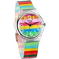 JewelryWe Reloj de Niños Niñas Reloj Analogico de Colores Arco Iris, Reloj Transparente Correa de Silicona para Chicas…