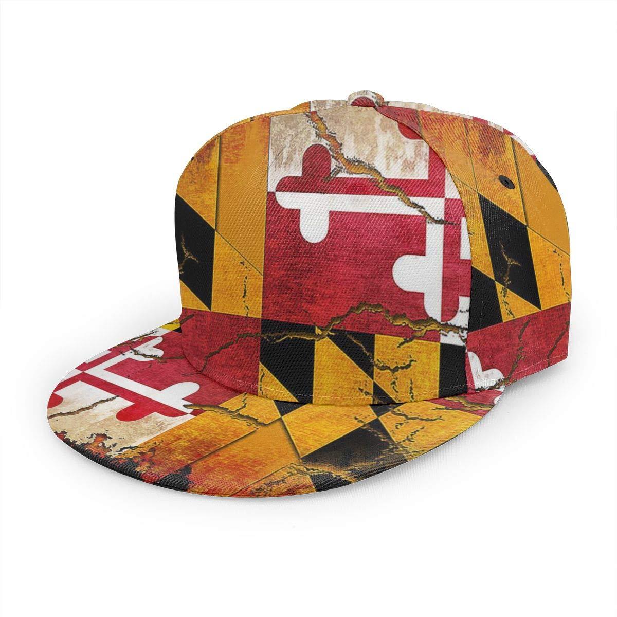 Maryland Flag Crack Grunge2222 Women Classic Hip Hop Baseball Cap 100/% Cotton Unisex Soft Adjustable Size Black