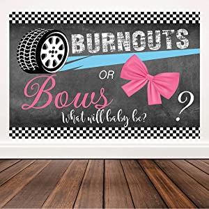 Bellimas Blackboard Burnouts or Bows Gender Reveal Party Backdrop Pink Blue Boy or Girl Decorations He or She Baby Shower Wall Banner Photobooth Studio Favors 6x4ft