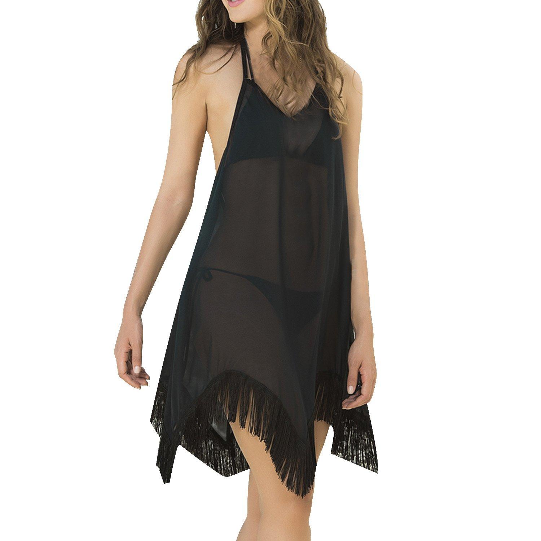 Sunnow damen sommerkleid strandkleid neckholder v ausschnitt r ckenfrei bademode bikini cover - Sommerkleid v ausschnitt ...