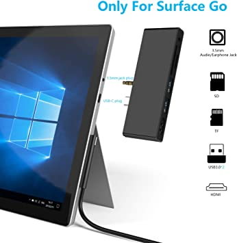6-in-1 Microsoft Surface Go USB C HDMI Adapter USB C Hub Adapter Dongle