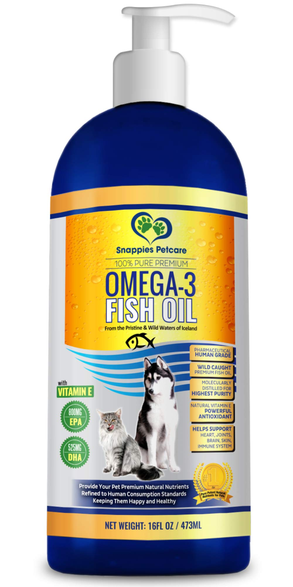 Omega 3 Fish Oil For Dogs and Cats - Wild Icelandic Pure, Odour Free, Cat & Dog Liquid Fish Oil Supplement with Vitamin E & More EPA & DHA Than Salmon Oil for Dogs for Optimal Nutrition / Health by Snappies Petcare