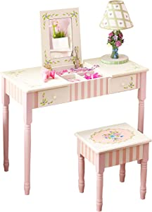 Fantasy Fields - Bouquet Thematic Kids Flip Top Mirror Vanity Table and Stool Set | Imagination Inspiring Hand Crafted & Hand Painted Details Non-Toxic, Lead Free Water-based Paint