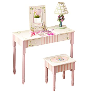Fantasy Fields   Bouquet Thematic Kids Flip Top Mirror Vanity Table And  Stool Set | Imagination