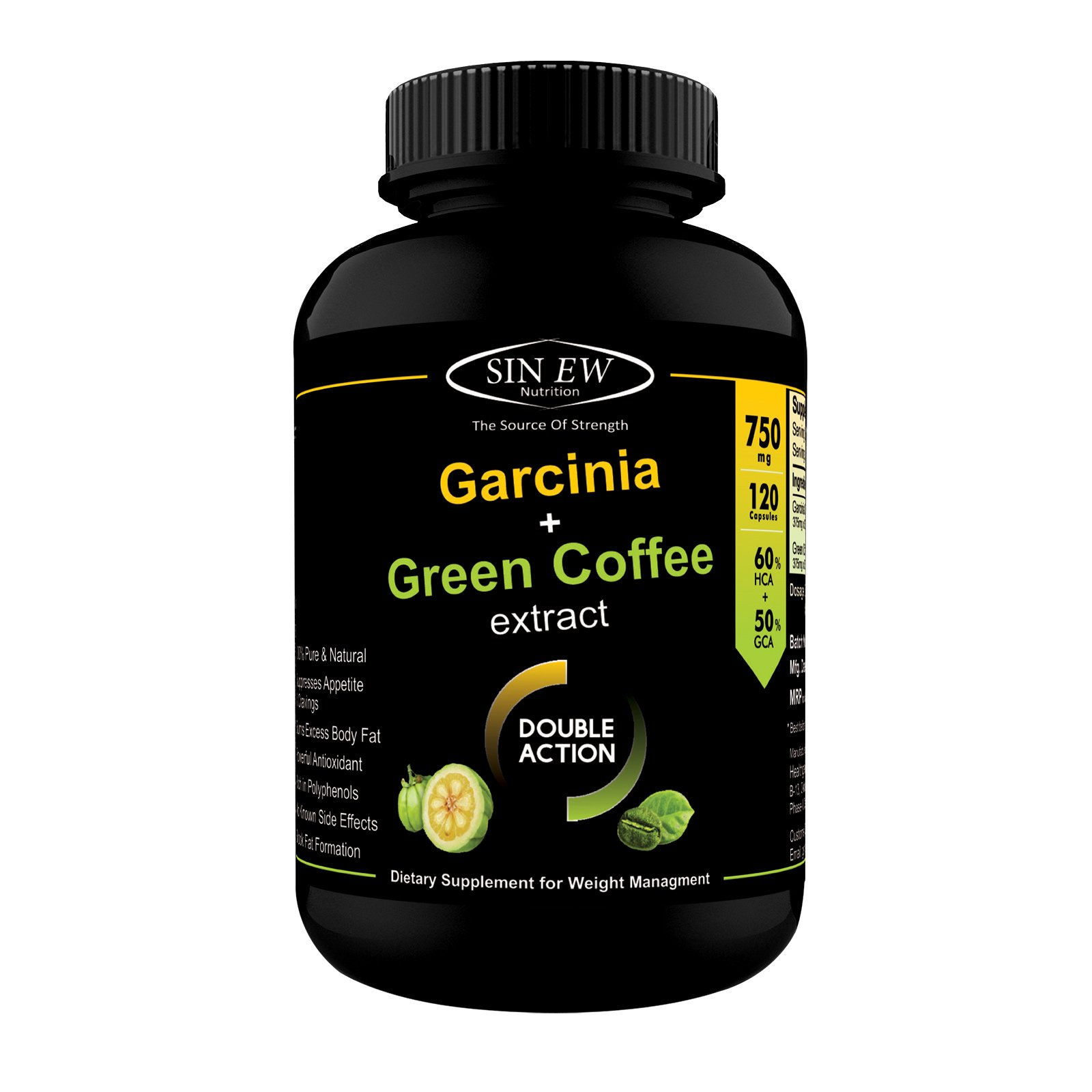 Sinew Nutrition Weight Management Combo 750mg (Garcinia Cambogia and Green Coffee Bean Extract) - 120 Pure Veg Capsules, 100% Pure & Natural Appetite Suppressant Supplement product image