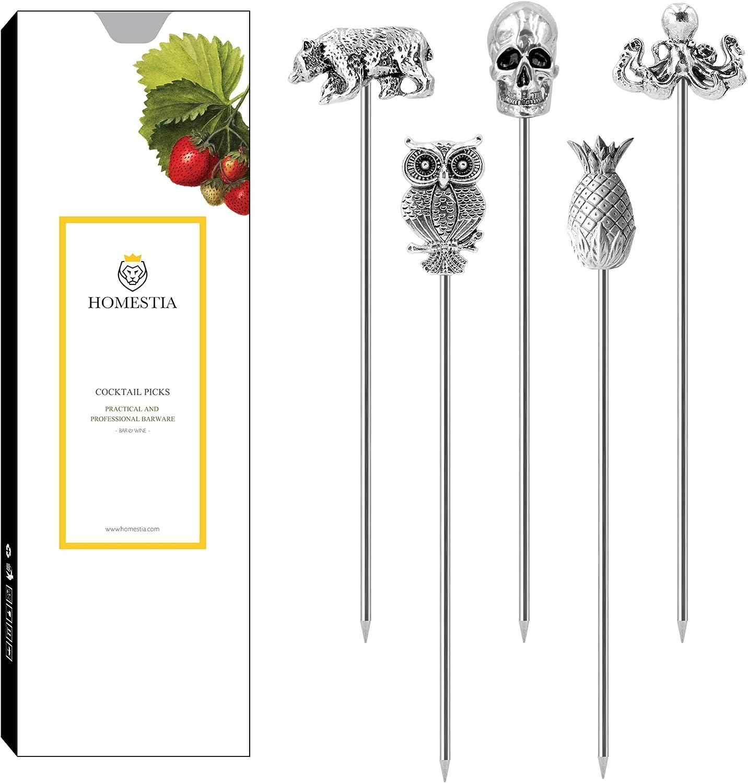 Cocktail Picks Stainless Steel Martini Picks Reusable Olive Picks Garnish Skewer Fruit Toothpicks Gift Set