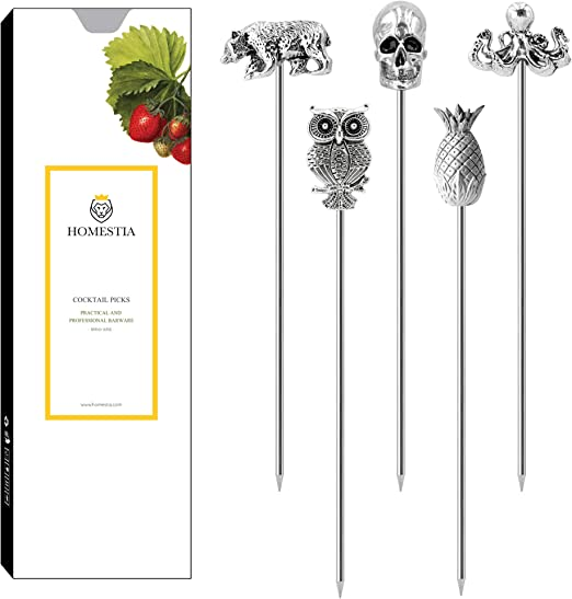 Stainless Steel Glass Mirror Appetizer pick Blue Set of four Rainbow Food pick Martini pick Cocktail pick Skewer