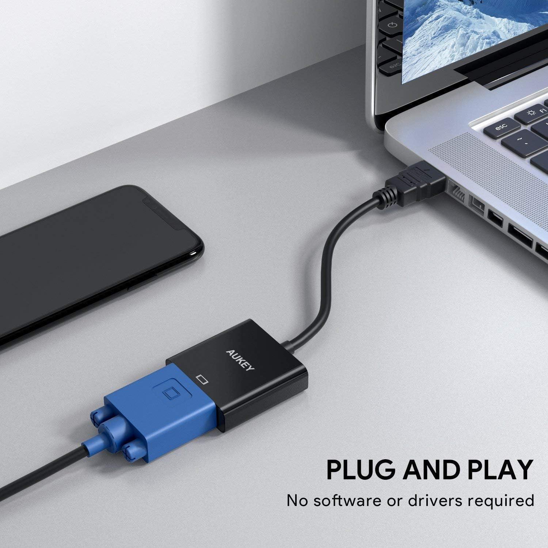 HDMI auf VGA kompatibel mit PC Konverter 1080p /Schwarz HDMI-Stecker auf VGA-Buchse Ultrabook AUKEY Adapter HDTV Xbox/ TV-Receiver