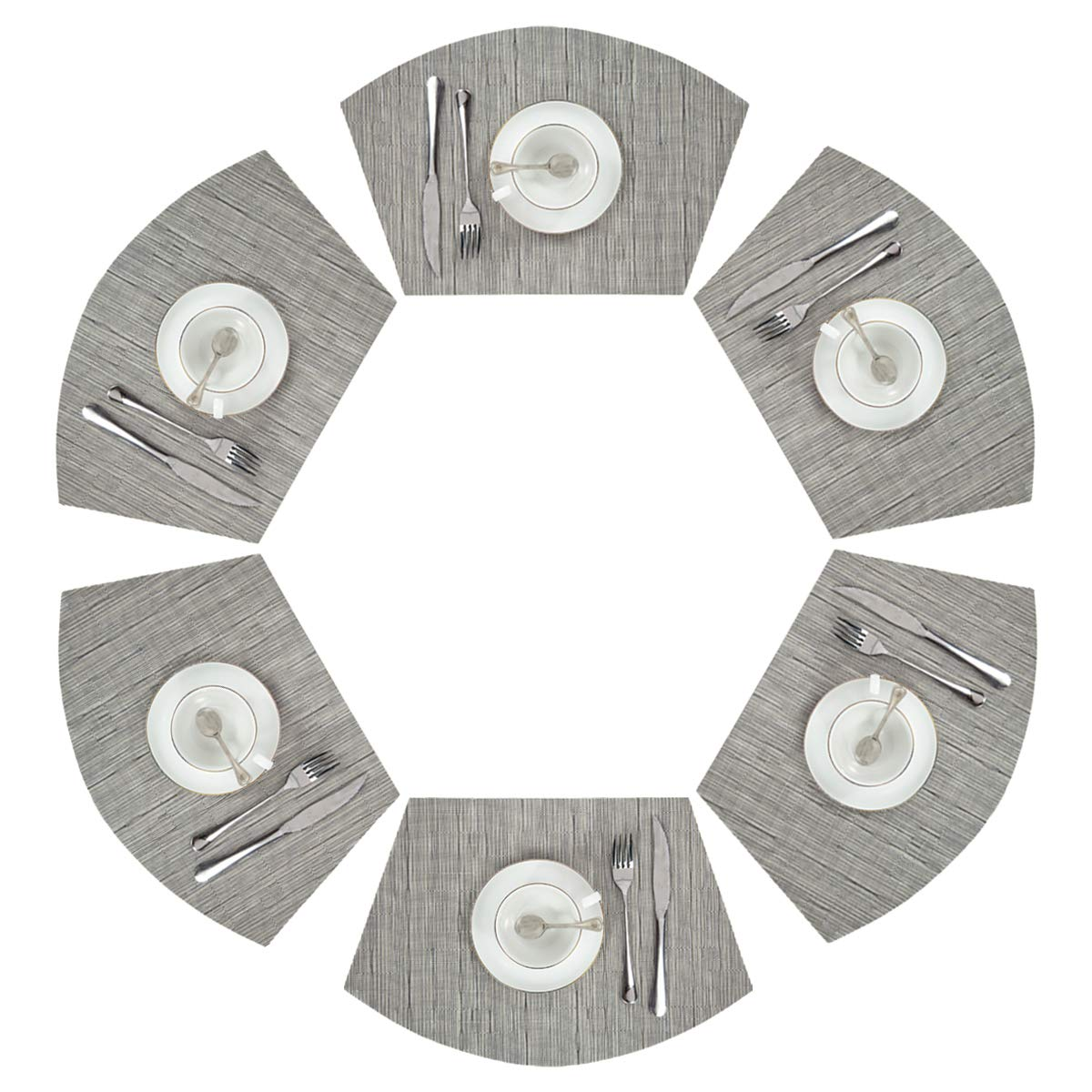 PAUWER Wedge Placemats Set of 6 Blue Woven Vinyl Round Table Placemats Heat Insulation Washable Round Table Placemats Wipe Clean