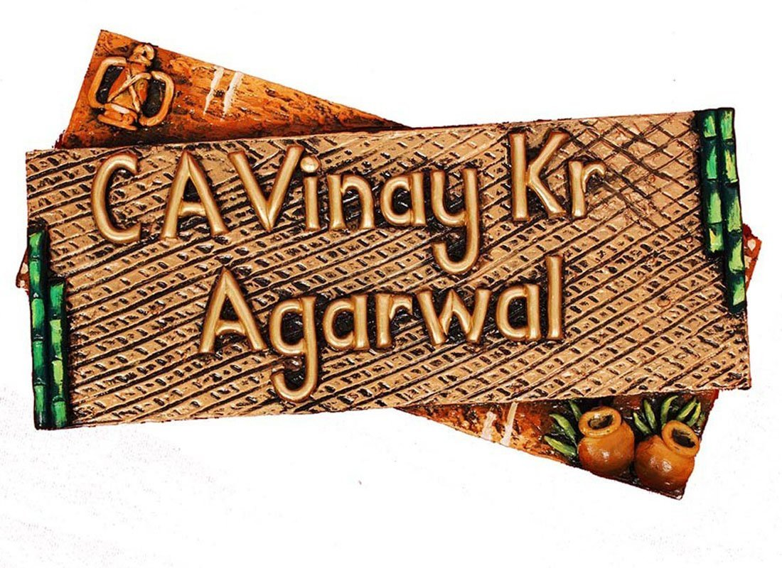 Craftedindia Handcrafted Wooden Name Plate for Door