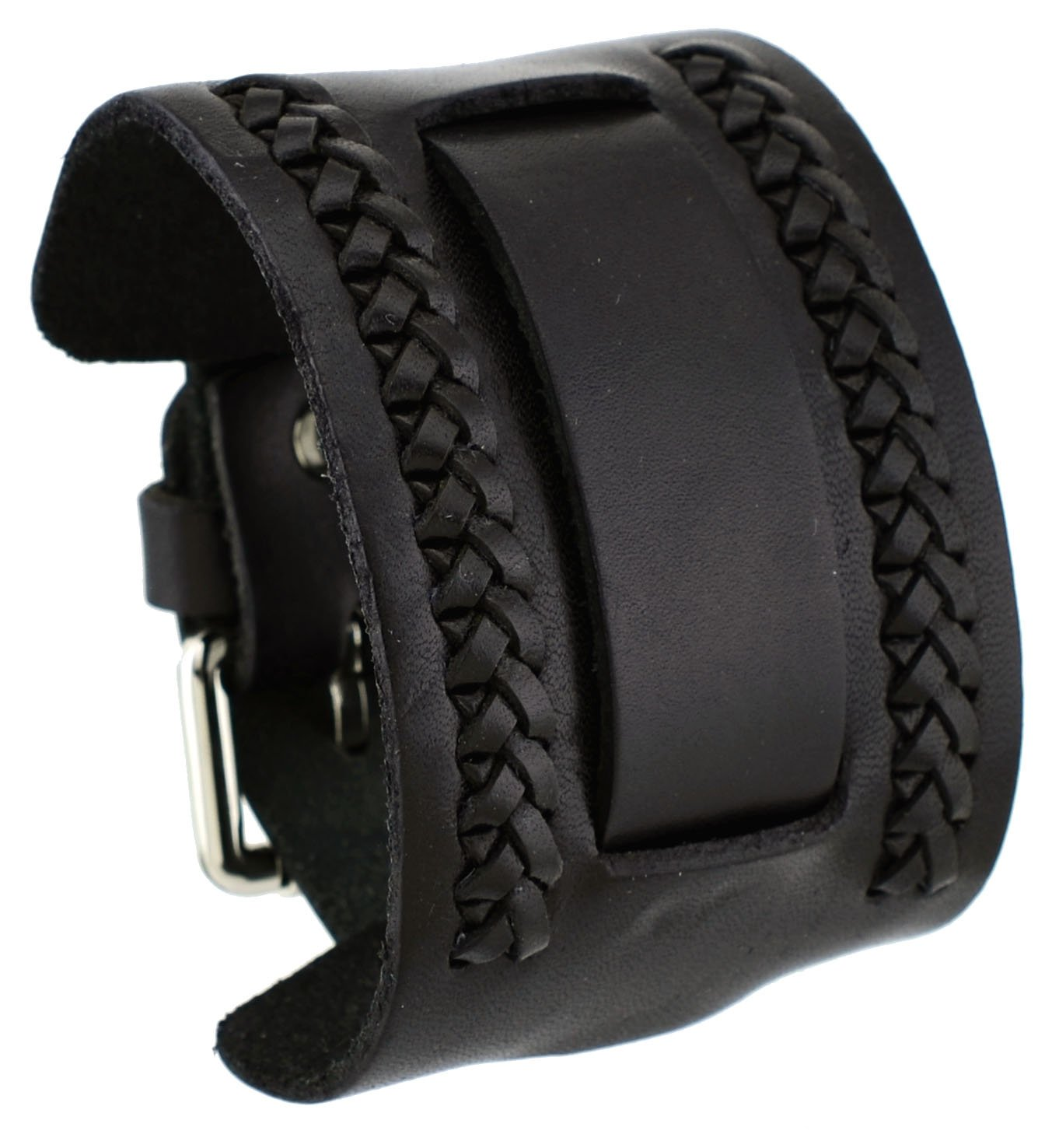 Nemesis NW-K Black Wide Leather Cuff Wrist Watch Band