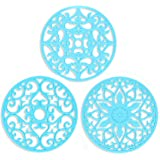 ME.FAN 3 Set Silicone Multi-Use Intricately Carved Trivet Mat - Insulated Flexible Durable Non Slip Coasters (Blue)