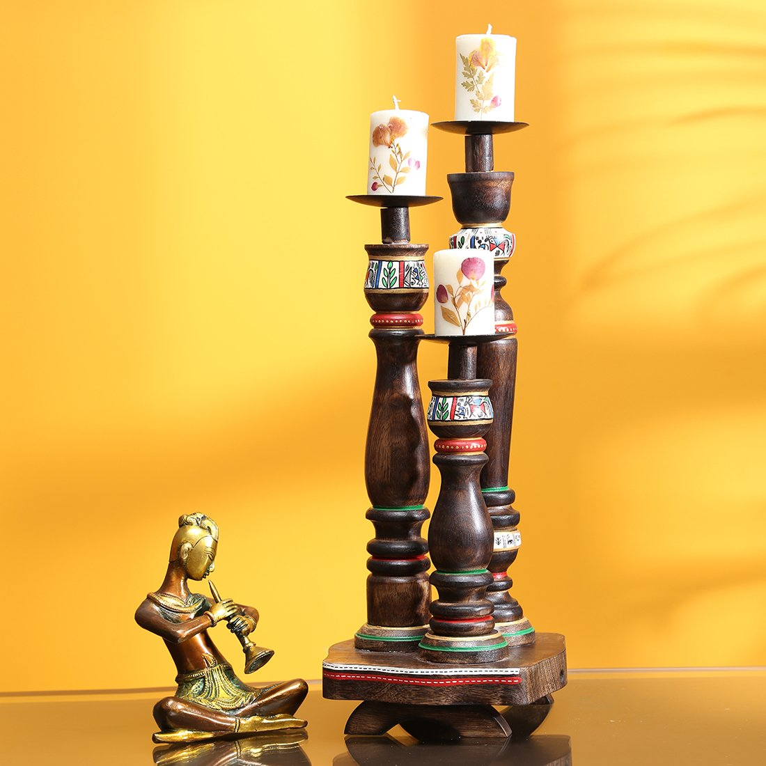 ExclusiveLane 'Candle Minarets' Warli Hand-Painted Candle Holders In Wood -Candle Holders Votive Candle Holder Tealight Candles Tea Light Home DÃcor T Light by ExclusiveLane (Image #1)