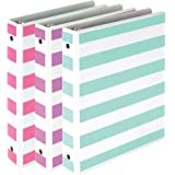 """Samsill Fashion Mini 3 Ring Binders 1 Inch / 7.5"""" x 9.1"""" Fits 8.5"""" x 5.5"""" Paper and Sheet Protectors/Cute Binders Assorted Stripe Design/Purple, Pink and Turquoise / 3 Pack Mini Binders"""