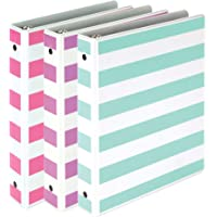"Samsill Fashion Mini 3 Ring Binders 1 Inch / 7.5"" x 9.1"" Fits 8.5"" x 5.5"" Paper and Sheet Protectors/Cute Binders Assorted Stripe Design/Purple, Pink and Turquoise / 3 Pack Mini Binders"