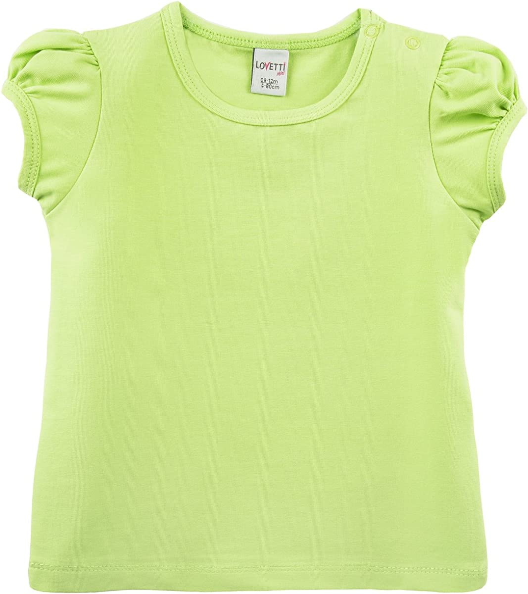 Lovetti Baby Girls' Basic Short Puff Sleeve Round Neck T-Shirt