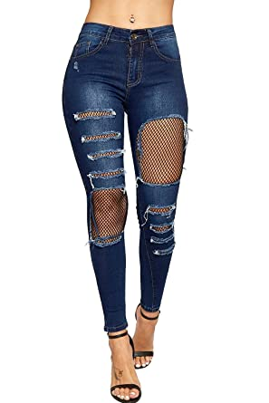 dd98c10c75a WearAll Women's Ripped Distressed Fishnet Lined Knee Skinny Leg Ladies Denim  Jeans - Dark Blue -