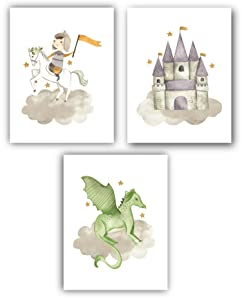 Set of 3 (UNFRAMED) Little Knight Nursery Decor Art for Boys Room 8x10 (Option 2)