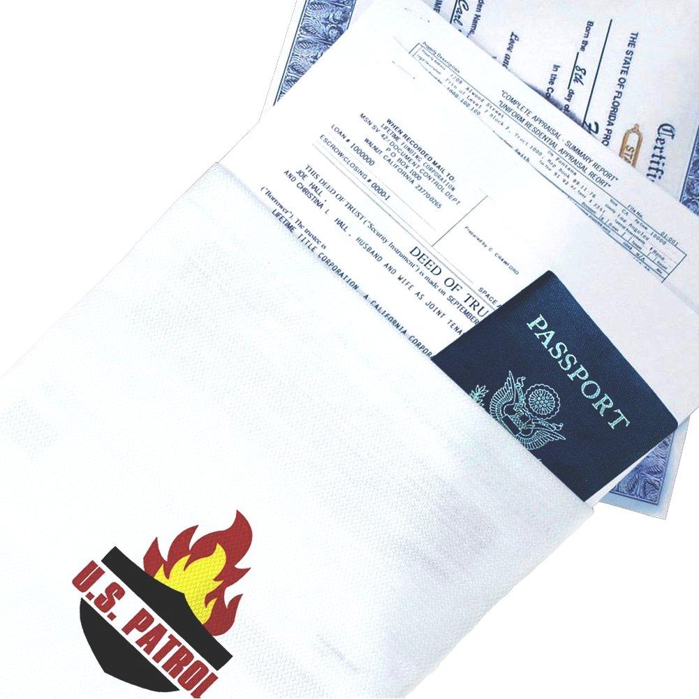Sacchetto per documenti 38x 26cm–resistente al fuoco–Fibra di vetro–Alta Resistenza a più di 500°C US PATROL ®