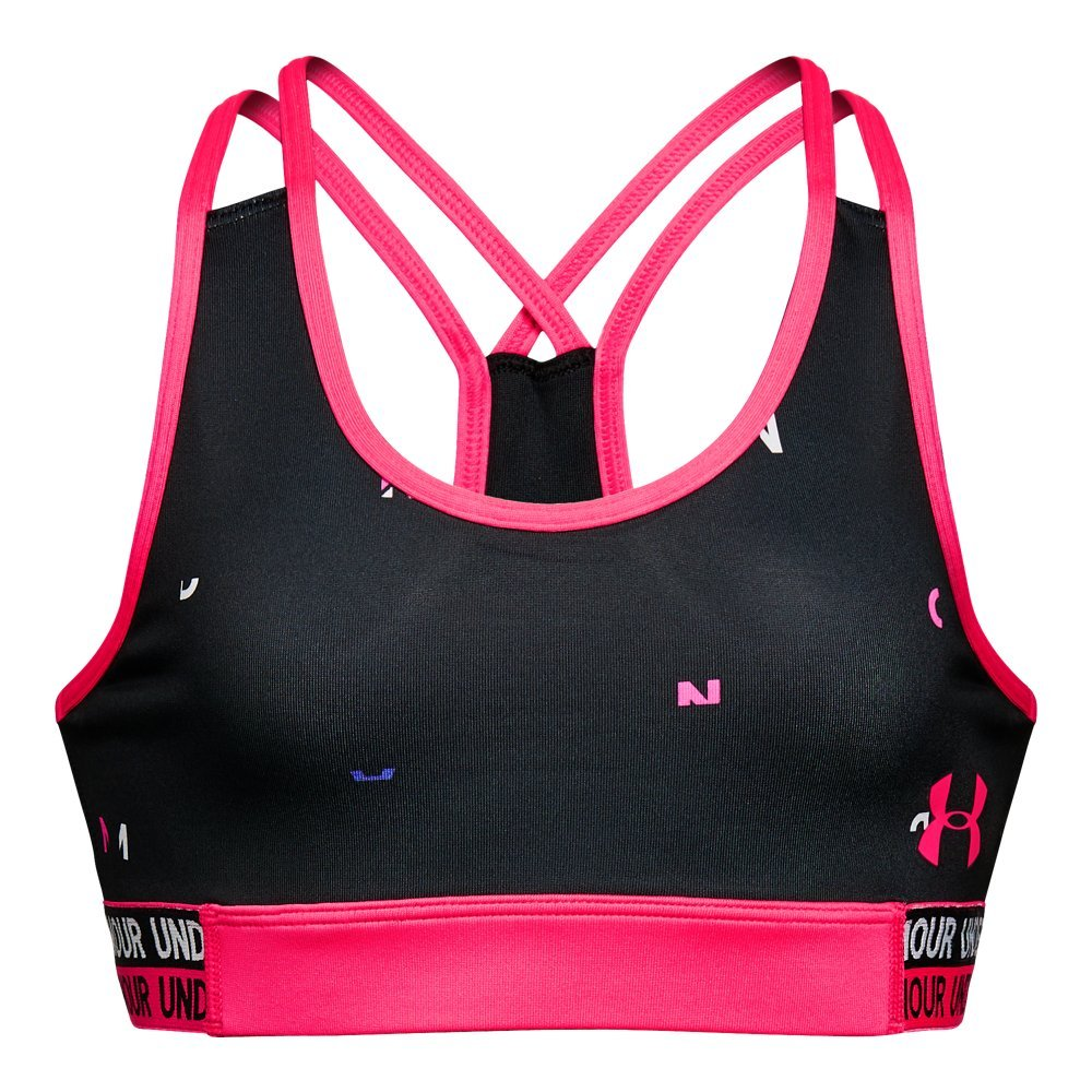 Under Armour Girls' HeatGear Armour Printed Bra, Black /Penta Pink, Youth X-Small