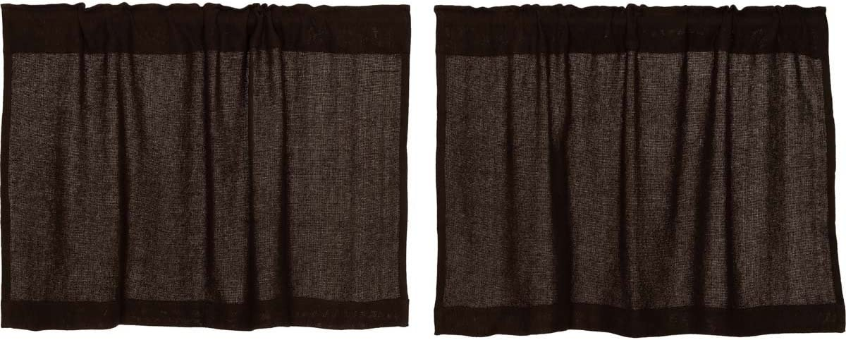 VHC Brands Rustic Lodge Kitchen Window Curtains-Burlap Brown Tier Pair, L24 x W36, Chocolate