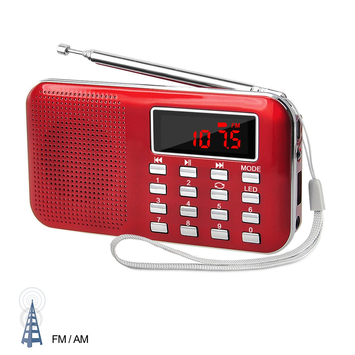 LEFON Mini Digital AM FM Radio Media Speaker MP3 Music Player Support TF Card / USB Disk with LED Screen Display and Emergency Flashlight Function ( Red --Upgraded Version )