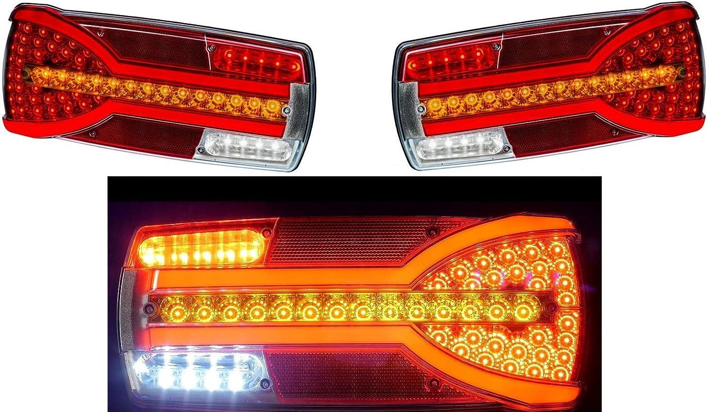 DREAMIZER Universel 40 LED Double Feu arri/ère de Moto Feu de Freinage,Indicateurs de Clignotant Lampe de marche avec Support de plaque dimmatriculation pour Chopper Street Bike Dirt Bike Fum/ée