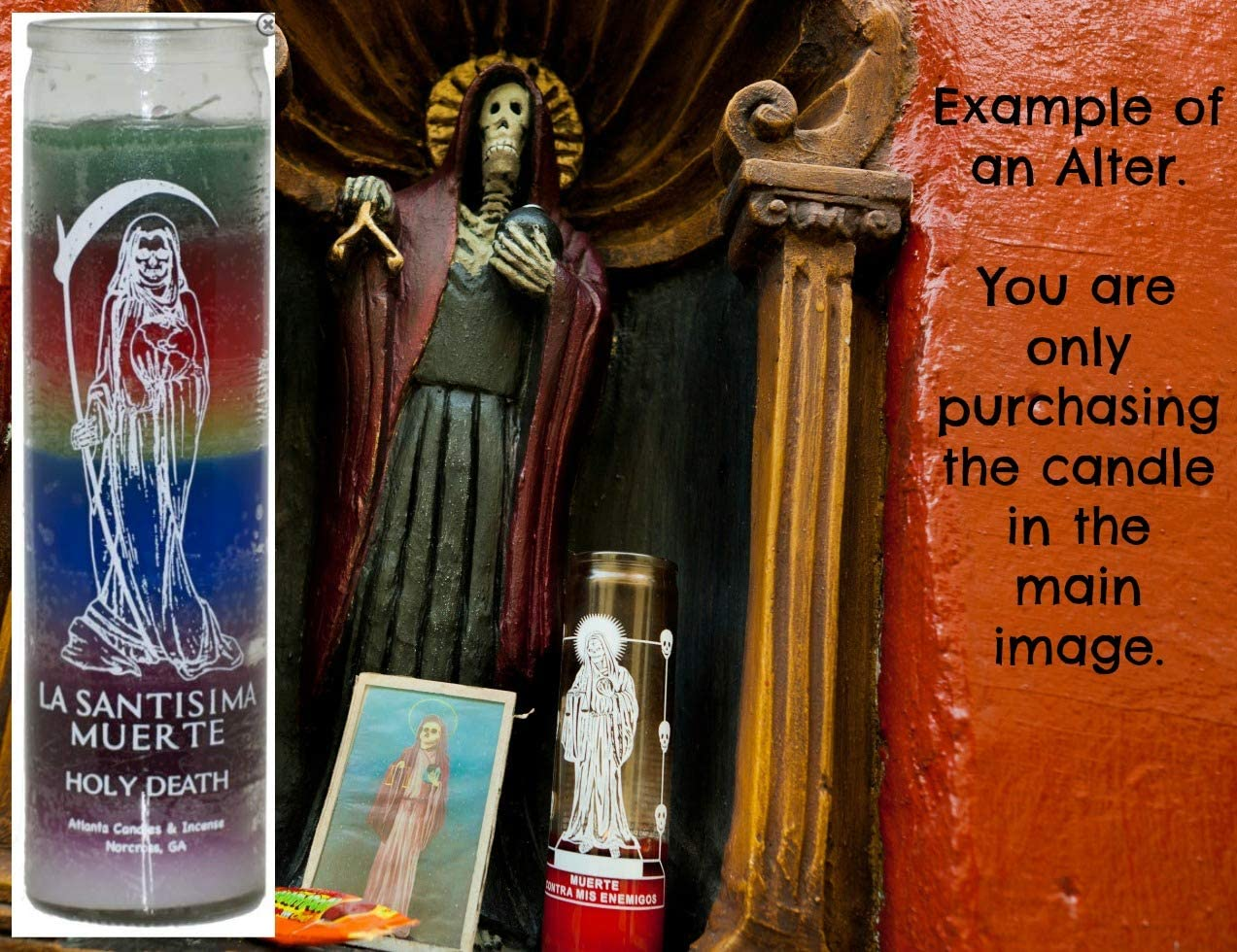 Santa Muerte 7 Color 7 Day Candle Holy Death