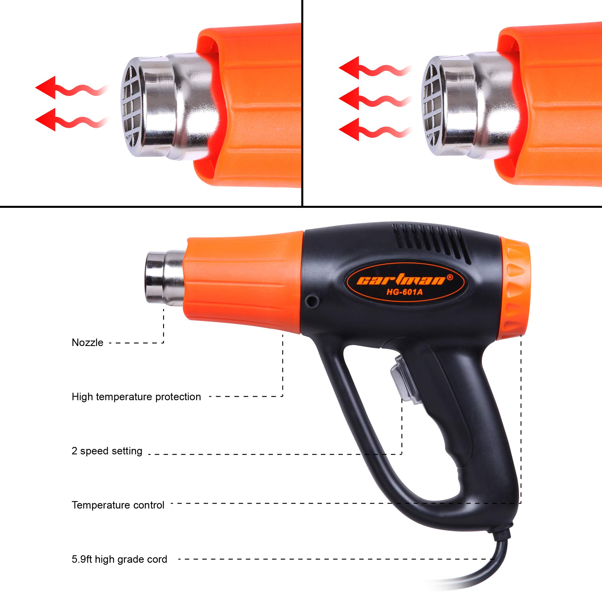 CARTMAN Heat Gun, 1500W Hot Air Gun, Variable Temp Settings 140-1022℉, With 4 Nozzles by CARTMAN (Image #3)