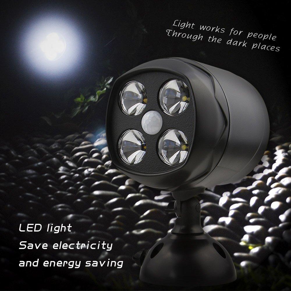 Motion Sensor Spotlight Wireless Battery Operated Weatherproof Wall Light,Lighting for Patio Garden Garage Pathway-8W 600 Lumens 4LED Security Lights Woenergy Outdoor Motion Light Black,2Pack