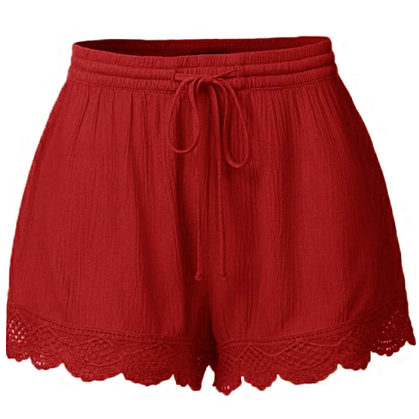 Just For Future Women's Plus Size Casual Drawstring Elastic Waist Lace Spliced Shorts Pants