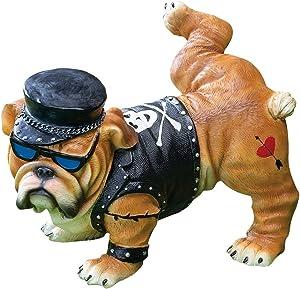 LOVATIC Collections Etc Tough Guy Biker Bulldog Peeing Dog Statue Yard Lawn Ornament