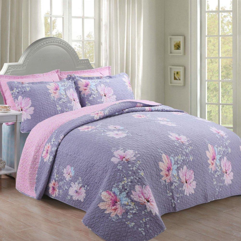 Mowang – 3個豪華なソフト起毛マイクロファイバーCoverletセット – キルト風刺繍over sized bed-cover by – ベッドスプレッドセット(クイーン) 90
